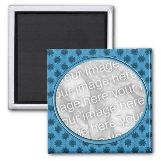 blue floral photo frame 2 inch square magnet