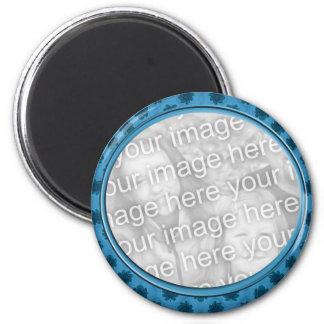 blue floral photo frame fridge magnet