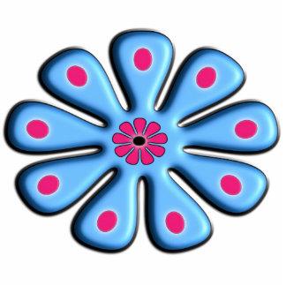 Blue Floral Photo Sculpture Keychain