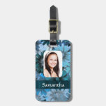 Blue floral photo template bag tag