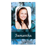 Blue floral photo template business card