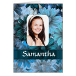 Blue floral photo template greeting card