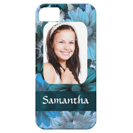Blue floral photo template iPhone 5 cases