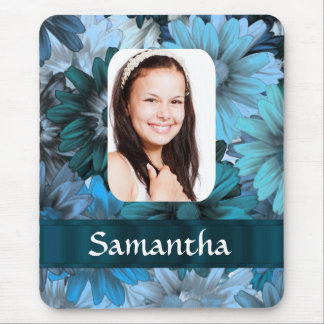 Blue floral photo template mouse pad