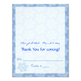 Blue Floral Placecard Card