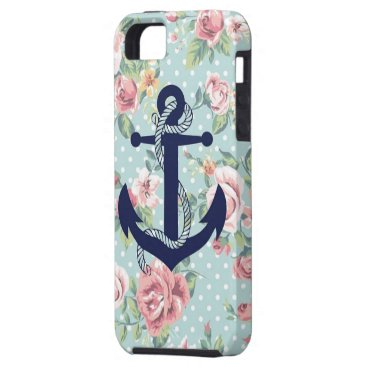 Beach Themed Blue Floral Polka Dot with Anchor iPhone SE/5/5s Case