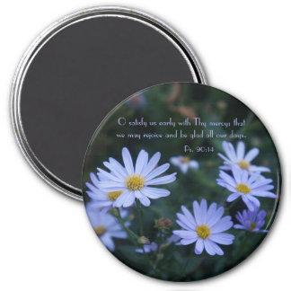 Blue Floral Praise Magnet with KJV Scripture