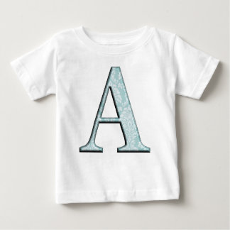 Blue Floral Print A monogram initials Gifts Baby T-Shirt