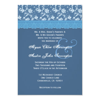 Blue Floral Print and Lace Ribbon Wedding A01 5x7 Paper Invitation Card
