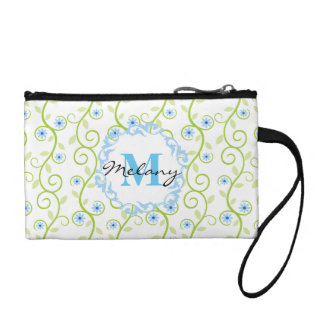 Blue Floral Print Monogram Coin Wallet