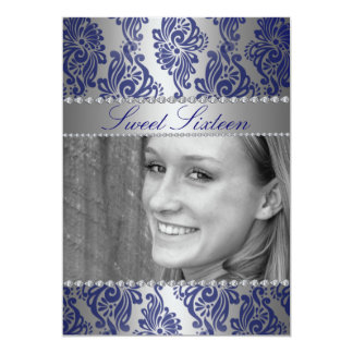 Blue Floral Print Photo Sweet 16 Birthday invite