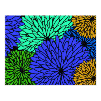 Blue floral print with flowers in colors postcard
