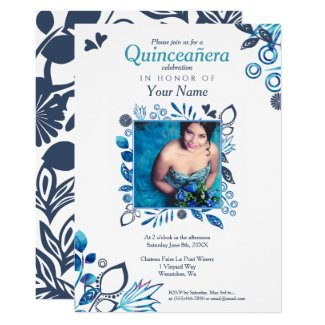 Blue Floral Quinceañera Invitation