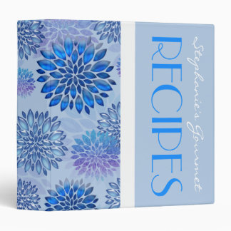 Blue Floral Recipe Binder