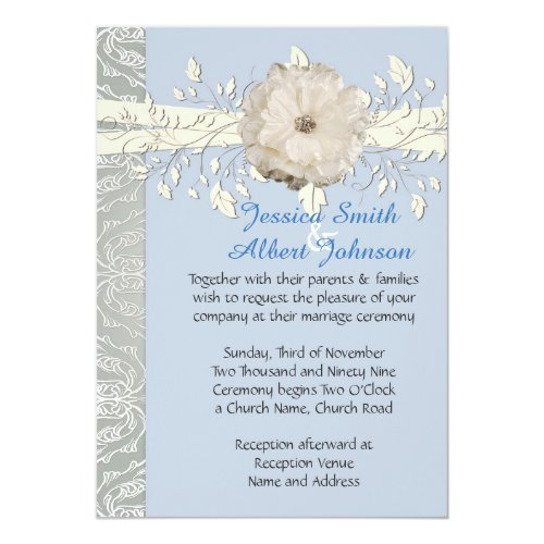 Blue Floral Ribbon Silver Damask Wedding Invite
