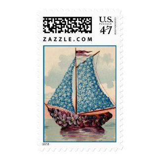 Blue Floral Sailboat Postage Stamps