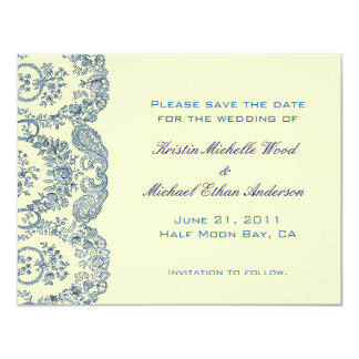 Blue Floral Save the Date Card