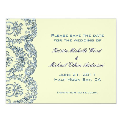 """Blue Floral Save the Date 4.25"""" X 5.5"""" Invitation Card"""
