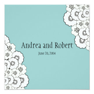 Blue Floral Save the Date Wedding Announcement
