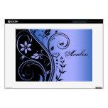 "Blue Floral Scroll 15"" Laptop Skin"