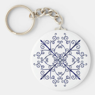 Blue Floral Scroll Key Chain