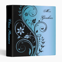 Blue Floral Scroll Teachers Class Planner Binder