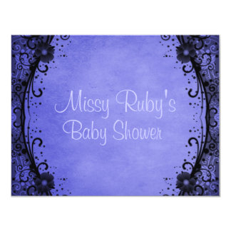 Blue Floral Shower Invitation