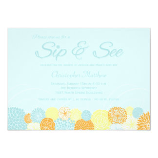 "Blue floral sip and see new baby party invitation 5"" x 7"" invitation card"