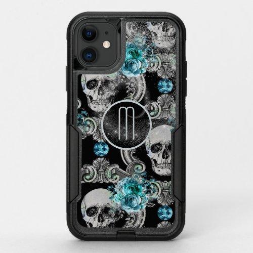 Blue Floral Skull Monogram Phone Case