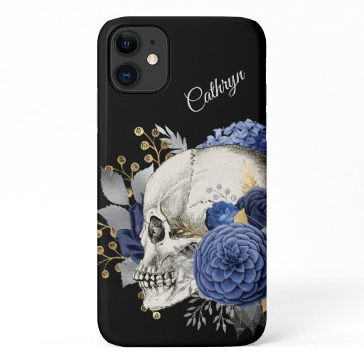 Blue Floral Skull Personalized iPhone 11 Case
