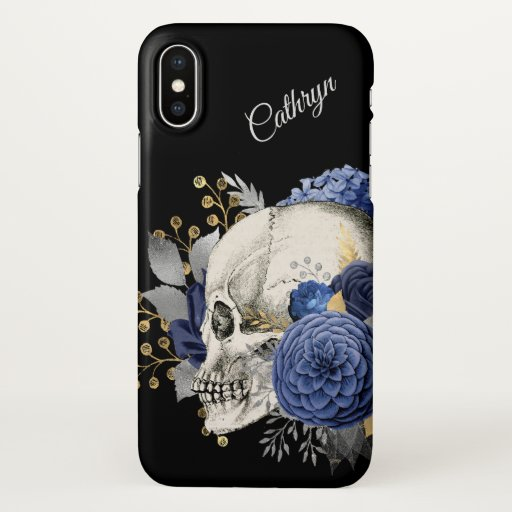 Blue Floral Skull Personalized iPhone X Case