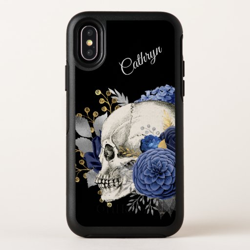 Blue Floral Skull Personalized OtterBox Symmetry iPhone X Case