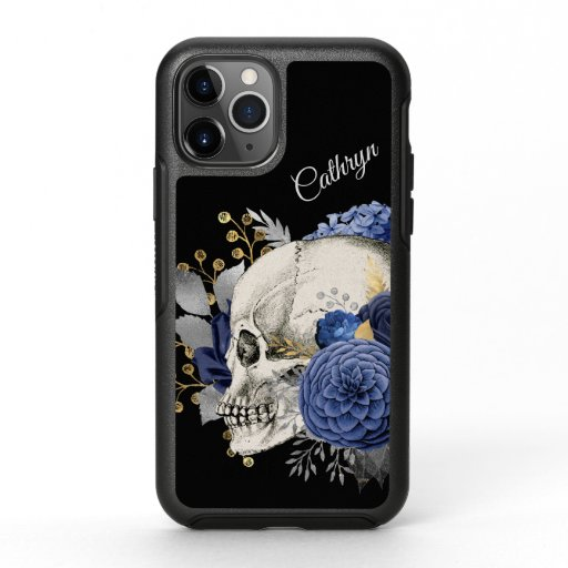 Blue Floral Skull Personalized OtterBox Symmetry iPhone 11 Pro Case
