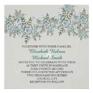 Blue Floral Spring Wedding Invite