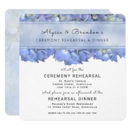 Blue Floral Square Rehearsal Dinner Invitation