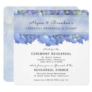 Blue Floral Square Rehearsal Dinner Invitation