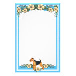 Blue Floral Stationery unlined Airedale
