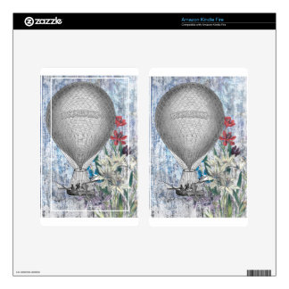 Blue Floral Steampunk Hot Air Balloon Decals For Kindle Fire