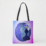 Blue Floral Still Art Collage Tote Bag
