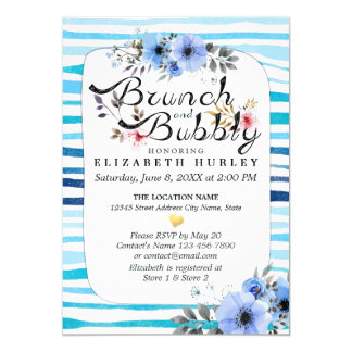 Blue Floral Stripes Brunch & Bubbly Bridal Shower Card