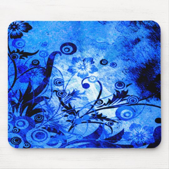 Blue Floral Swirls Mouse Pad
