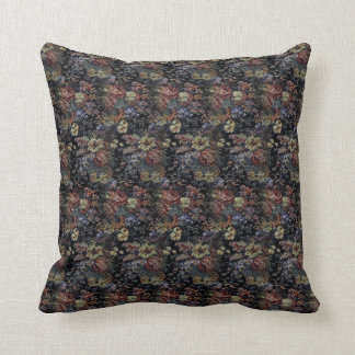 Blue Floral Tapestry Throw Pillow