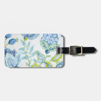 Blue Floral Tapestry with Glitter Effect Bag Tag