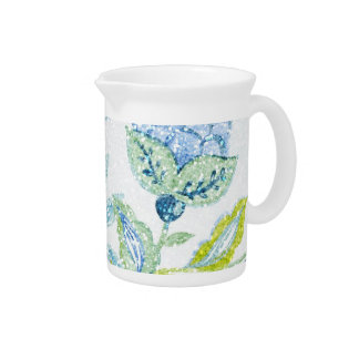Blue Floral Tapestry with Glitter Effect Beverage Pitchers