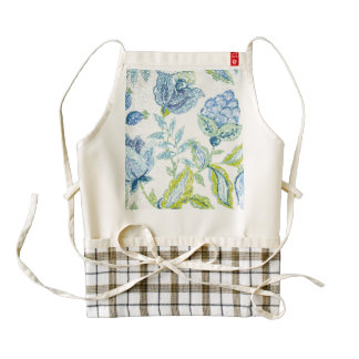 Blue Floral Tapestry with Glitter Effect Zazzle HEART Apron