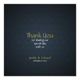 Blue Floral Texture Square Wedding Thank You Card