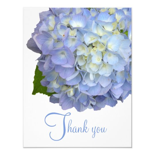 Blue Floral Thank You Blank Flat Cards
