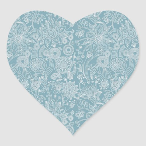 Blue Floral Thank You Sticker/Seal Heart Sticker