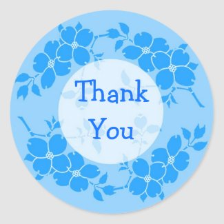 Blue Floral Thank You Stickers