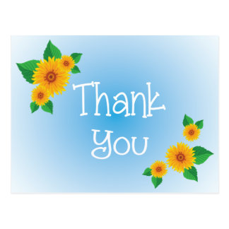 Blue Floral Thank You Sunflower Post Card